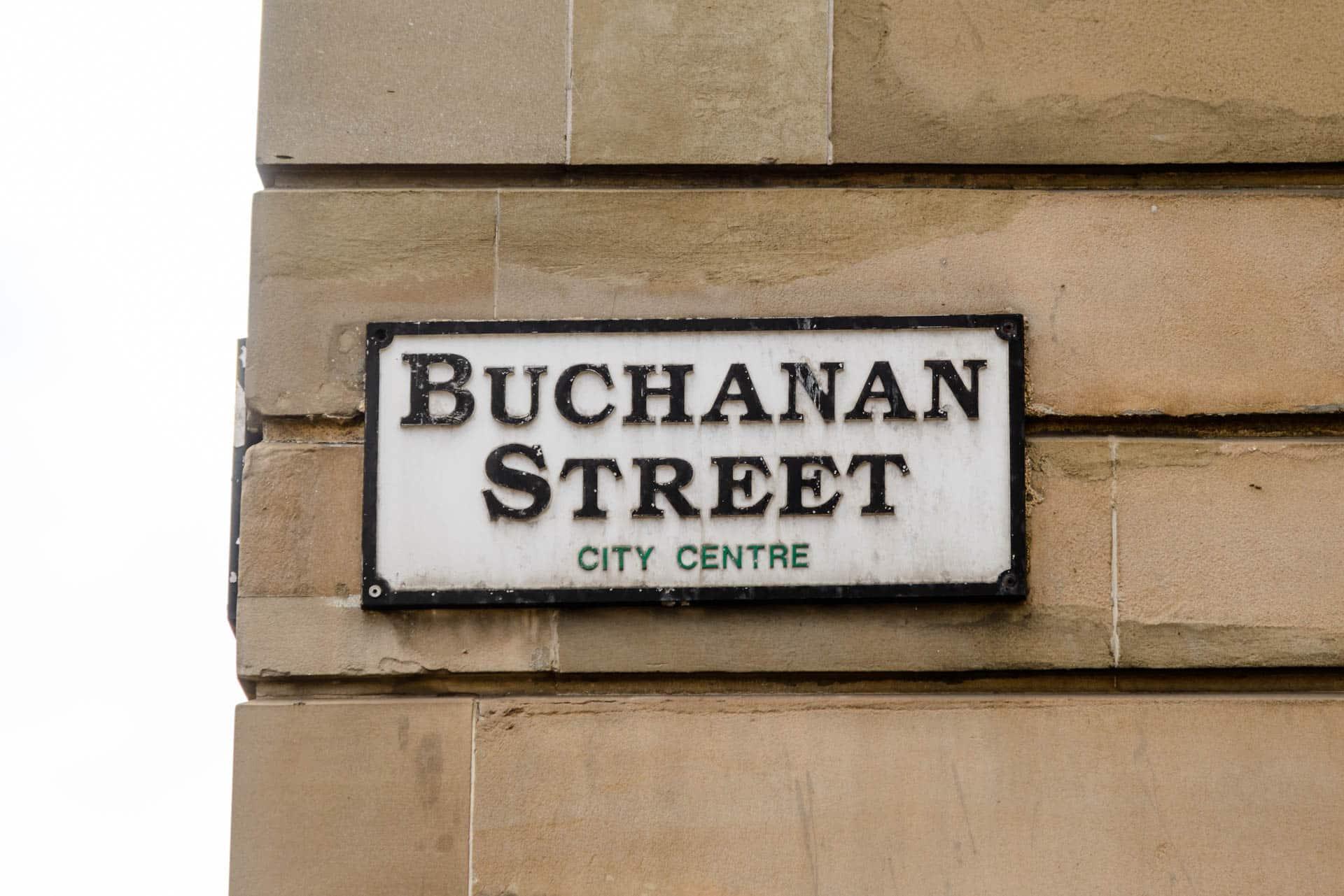 Street signs Buchanan Street in Glasgow.
