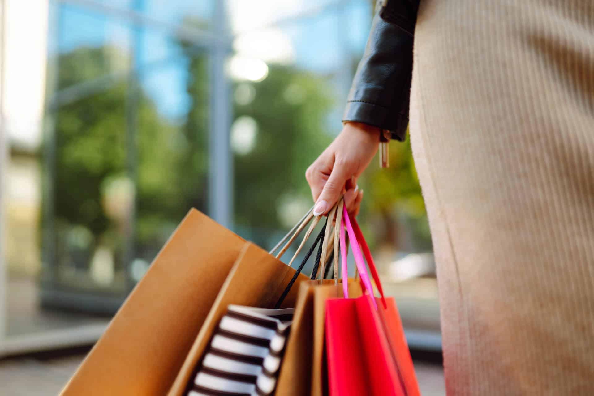 Woman shopping on Corporation Street in BIrmingham City Centre