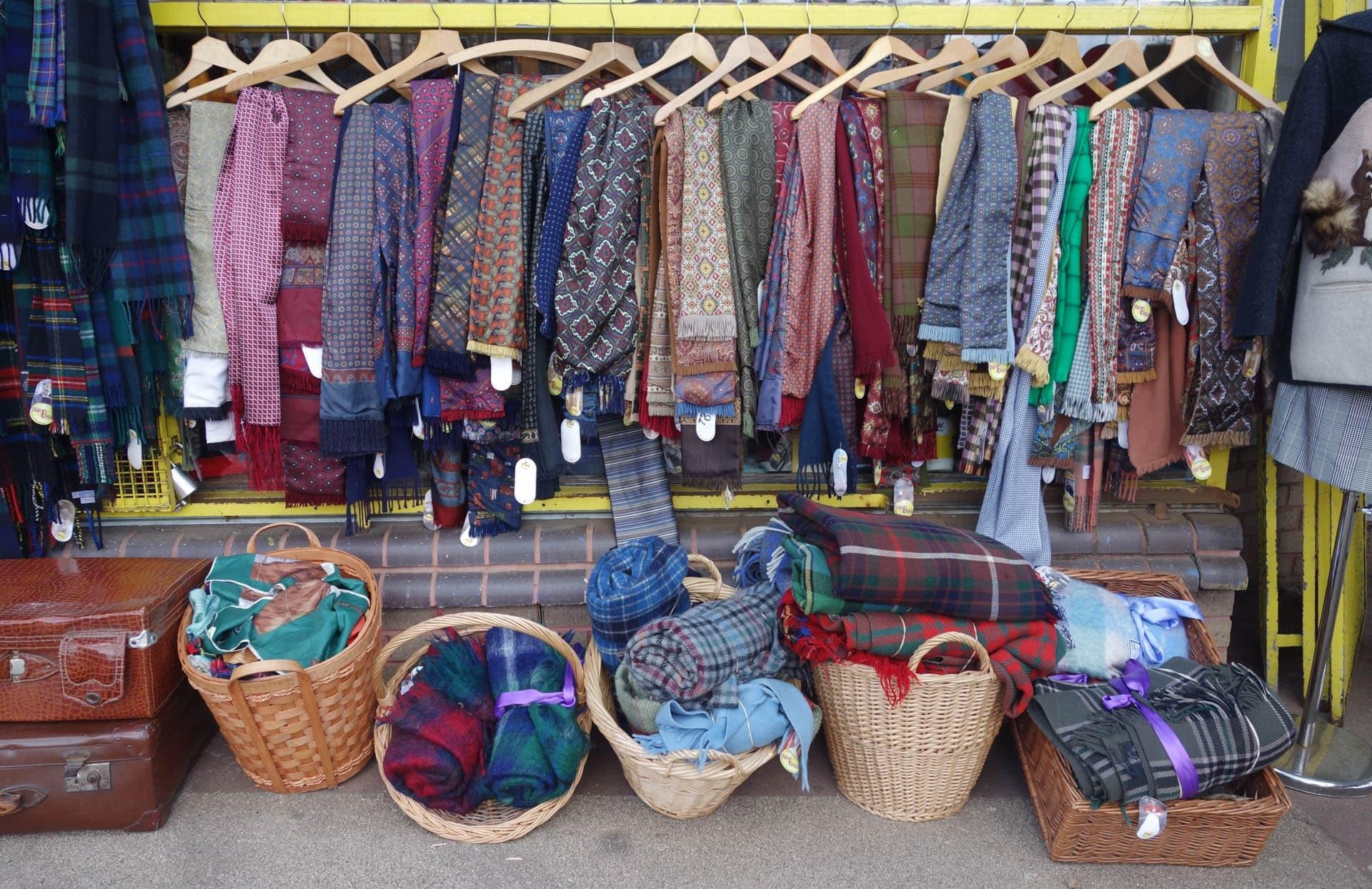 Second-hand fabrics, tartans and tweeds at Glasgow's Barras vintage market